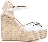Le Silla embellished braided wedges - women - Raffia/Leather/rubber - 36