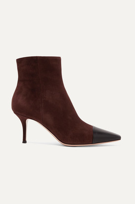 Gianvito Rossi 70 Two-tone Suede And Leather Ankle Boots - Brown