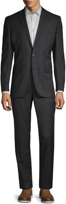 Kenneth Cole New York Classic-Fit Birdseye Plaid Wool Suit
