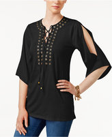 MICHAEL Michael Kors Grommet-Trim Lace-Up Tunic
