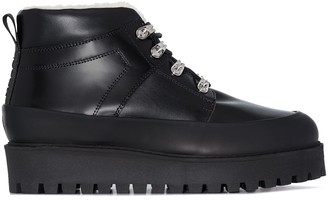 Ganni Shearling Lining Lace-Up Boots