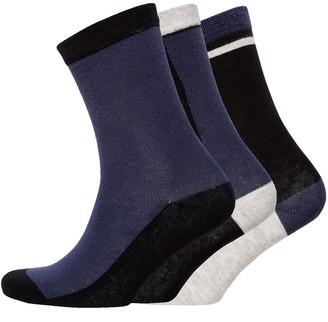 Jaeger Womens Three Pack Block Socks Indigo Black Grey