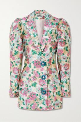 Rotate by Birger Christensen Carol Embellished Metallic Floral-jacquard Mini Dress - Ivory