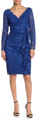 Marina Sequined Lace Surplice Long Sleeve Sheath Dress