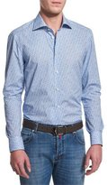Kiton Mini Floral-Print Long-Sleeve Sport Shirt, Light Blue