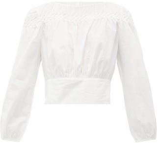 Merlette New York Soller Smocked Cotton-lawn Blouse - White