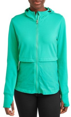 Athletic Works Women's Active Performance Knit Woven Zip Front Jacket
