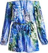 Glam Blue & Green Tie-Dye Tie-Waist Off-Shoulder Dress