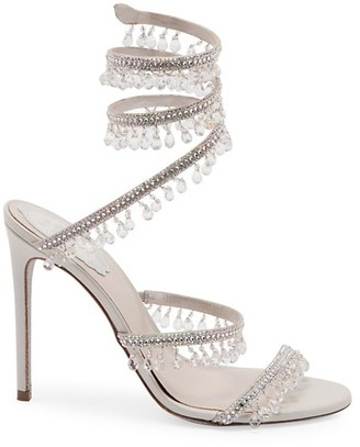 Rene Caovilla Cleo Chandelier Ankle-Wrap Crystal-Embellished Satin Sandals