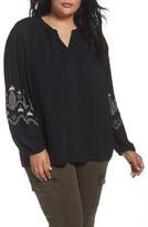 Caslon Plus Size Women's Embroidered Blouse