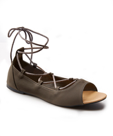 Wet Seal Olive Lace-Up Laney Flat