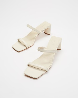 AERE - Women's White Heeled Sandals - Double Strap Leather Mule Heels - Size 5 at The Iconic