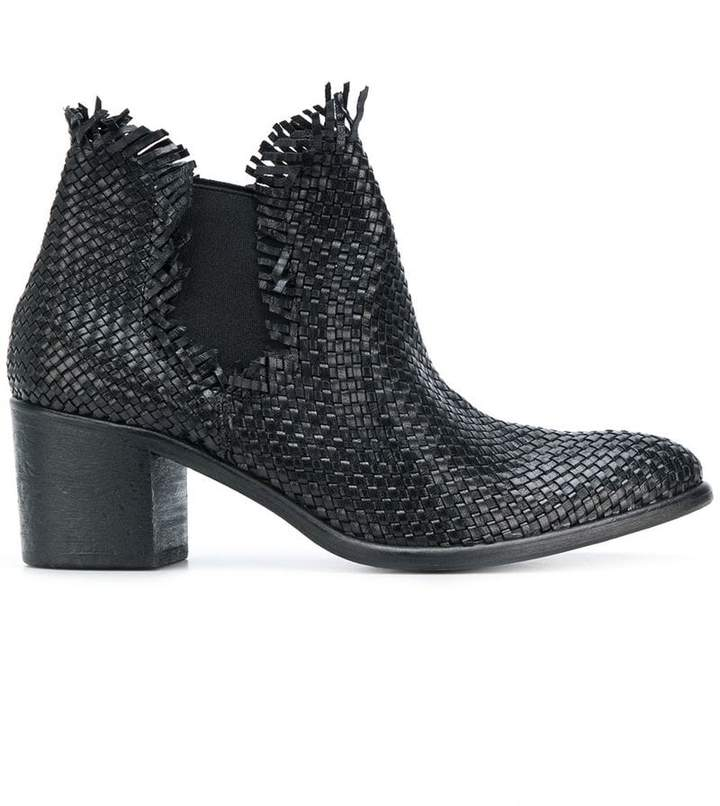 Strategia woven block-heel ankle boots