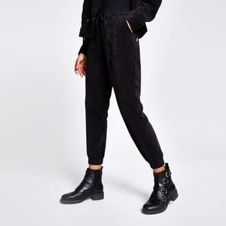 River Island Womens Black corduroy jogger trousers