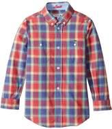 Lacoste Kids Boy's Long Sleeve Plaid Shirt (Little Kids/Big Kids) Shirt