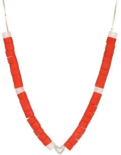 Adina Reyter Design Kits 14K Yellow Gold, Diamond, Red Jasper & Rose Quartz Necklace