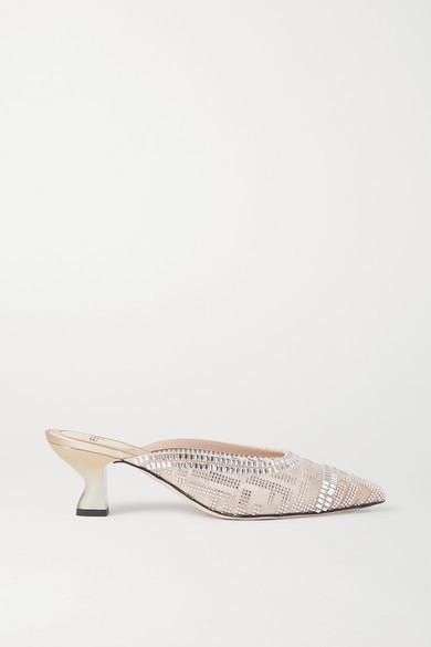 Fendi Colibri Crystal-embellished Mesh Mules - Blush