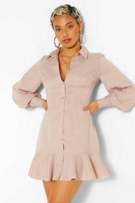 boohoo Woven Drop Hem Shirt Dress