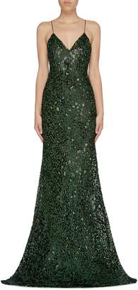 Alex Perry 'Jenson' tinsel leopard devore silk blend bias gown