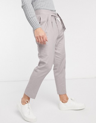 Asos Design DESIGN smart tapered trousers in grey linen with double belt