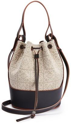 Loewe Balloon Leather-Trimmed Anagram-Print Linen Bucket Bag