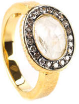 RARITIES Gold Tone Metal Champagne Diamonds Moonstone Cocktail Ring Sz 6