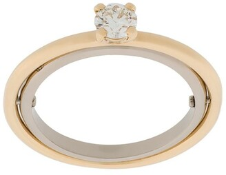 Charlotte Chesnais 18kt yellow and white gold Elipse solitaire diamond ring