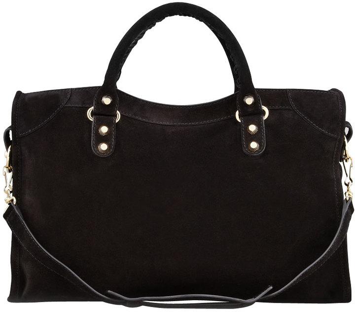 Balenciaga Giant 12 Golden Suede City Bag, Black