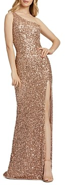 Mac Duggal One-Shoulder Beaded Gown
