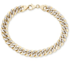 """Italian Gold Men's Diamond Cut Curb Link Chain 8.5"""" Bracelet in 10K Yellow and White Gold"""