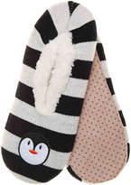 K. Bell Women's Penguin Women's's Slipper Socks -Black/White