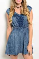En Creme Acid-Wash Denim Dress
