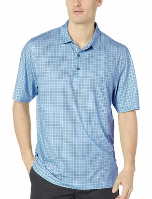 Cutter & Buck Men's Drytec UPF 50+ Lightweight Pike Small Plaid Print Polo Shirt