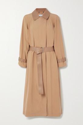 Salvatore Ferragamo Belted Leather-trimmed Silk Trench Coat - Beige