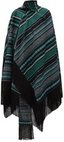 Erdem Thera Striped Cotton-blend Wrap Cape - Womens - Black Green