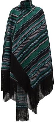 Erdem Thera Striped Cotton-blend Wrap Cape - Black Green