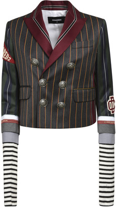 DSQUARED2 Double-Breasted Striped Cropped Blazer