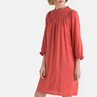 La Redoute Collections Ruffled Jacquard High-Neck Smock Dress