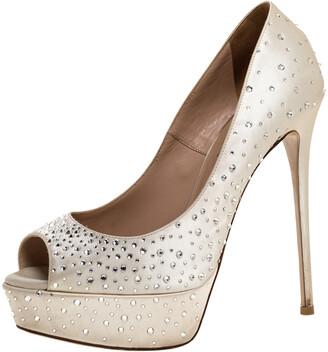 Valentino Beige Crystal Embellished Satin Peep Toe Platform Pumps Size 38