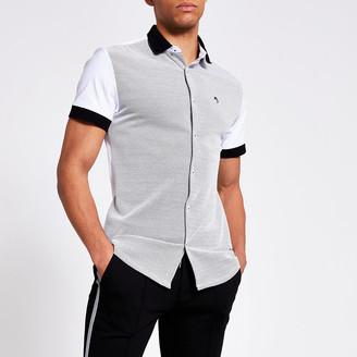 River Island Maison Riviera white blocked slim fit shirt