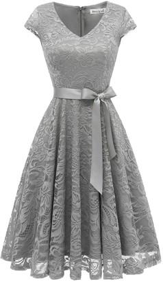BeryLove Women's Short Lace Bridesmaid Dress Formal Cocktail Party Dress Cap Sleeve Belt BLP7006ChampagneM