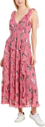 Rebecca Taylor Sequin Bloom Silk-Blend Midi Dress