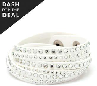 Swarovski Barzel Women's Bracelets White - White Faux Leather Wrap Bracelet With Crystals