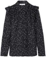 Frame Ruffled Printed Silk Shirt - Black