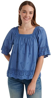 Lucky Brand Short Sleeve Square Neck Lace Mix Peasant Top (Olivine) Women's Clothing