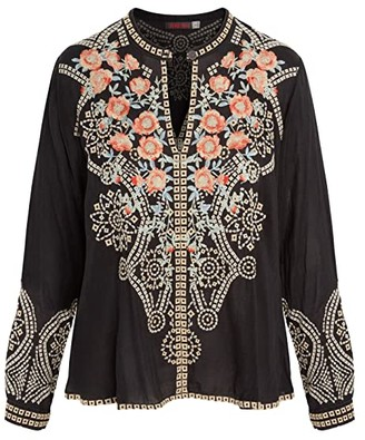 Johnny Was Alani Blouse (Sanded Black) Women's Clothing