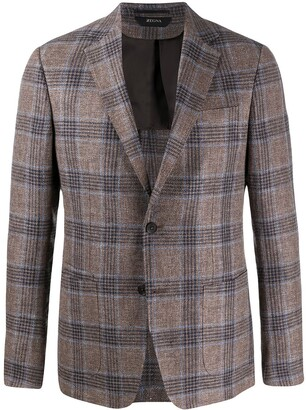 Ermenegildo Zegna Checked Single Breasted Blazer