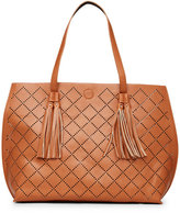 under one sky Cognac & Black Perforated Reversible Tote