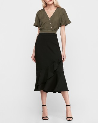 Express High Waisted Ruffle Wrap Midi Skirt
