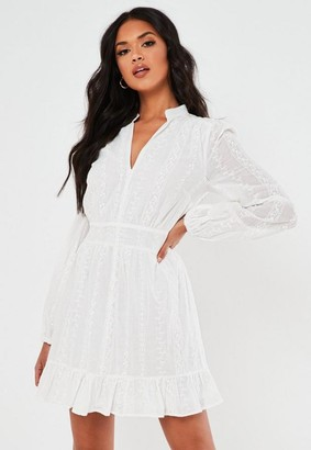 Missguided White Broderie Anglaise Frill Hem Dress